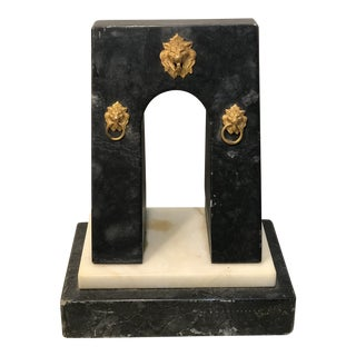 Art Nouveau Marble Gold Lion Head Bookend or Desk Paper Weight For Sale