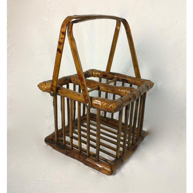 20th Century Chinoiserie Bamboo Bottle Basket in Burned & Lacquered Tortoise Finish For Sale In Los Angeles - Image 6 of 6