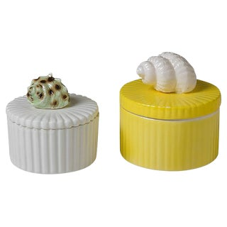 Shell-Topped Ceramic Boxes - A Pair