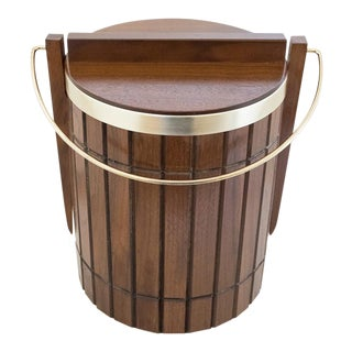 Mid-Century Gruvwood Walnut & Brass Ice Bucket