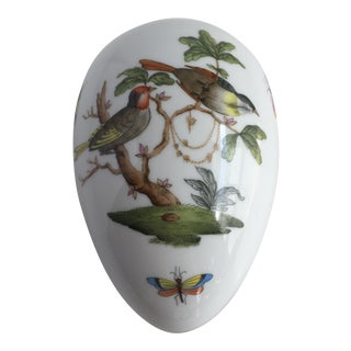 Vintage Herend Rothschild Hand Painted Birds & Butterfly's Egg Trinket Box For Sale