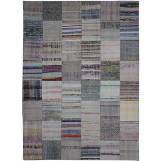 "Hand Knotted Antique Patchwork Rug - 7'10"" X 5'6"" For Sale"