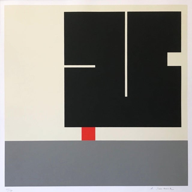Vintage geometric, op-art serigraph by Anton Stankowski. Pencil signed lower right, and numbered 68/130 lower left. Circa...