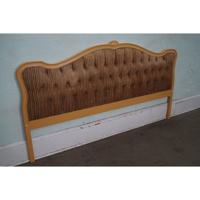 Brown Vintage French Louis XV Style Tufted Upholstered King Headboard For Sale - Image 8 of 10