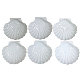 Vintage French White Porcelain Shell Dishes - Set of 6 For Sale