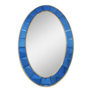 Cobalt Cristal Art Oval Mirror For Sale
