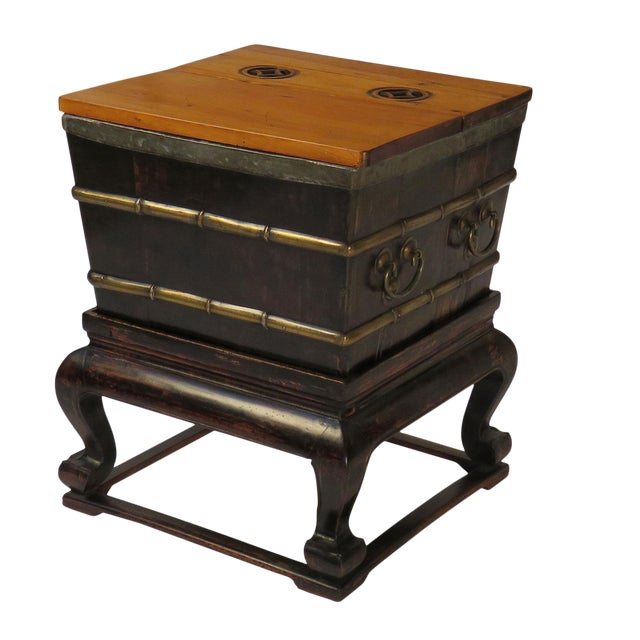 1900s Chinese Faux Bamboo Ice Chest on Stand For Sale