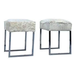 Late 20th Century Vintage Fur Upholstered Chrome Stools-A Pair For Sale