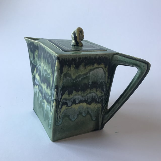 California Green Ceramic Drip Glaze Pitcher For Sale - Image 11 of 11