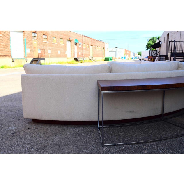Milo Baughman Semi-Circular Sofa With Rosewood Tables For Sale - Image 9 of 13