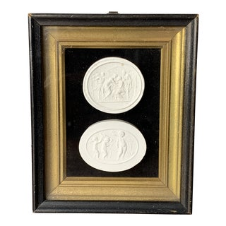 19th-Century Grand Tour Italian Plaster Camos Intaglio Framed For Sale