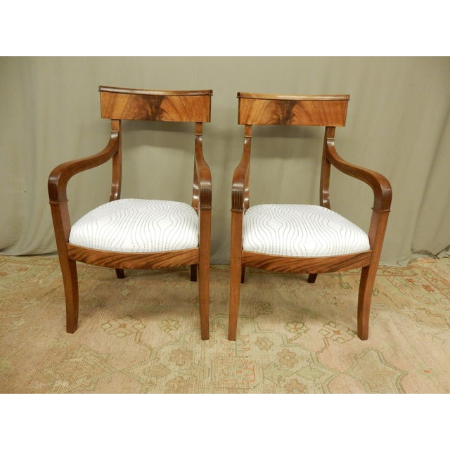 19th Century Pair of Neo-Classical Empire Arm Chairs For Sale - Image 5 of 5