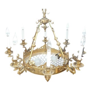Dore Empire Style Bronze and Cut Crystal Chandelier For Sale