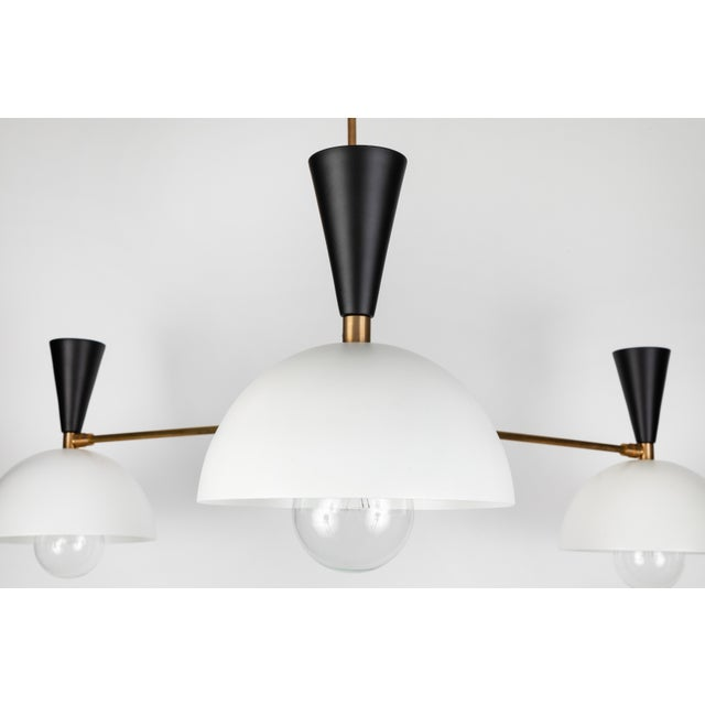 Mid-Century Modern Large Three-Cone 'Lola II' Chandelier in Black and White For Sale - Image 3 of 9
