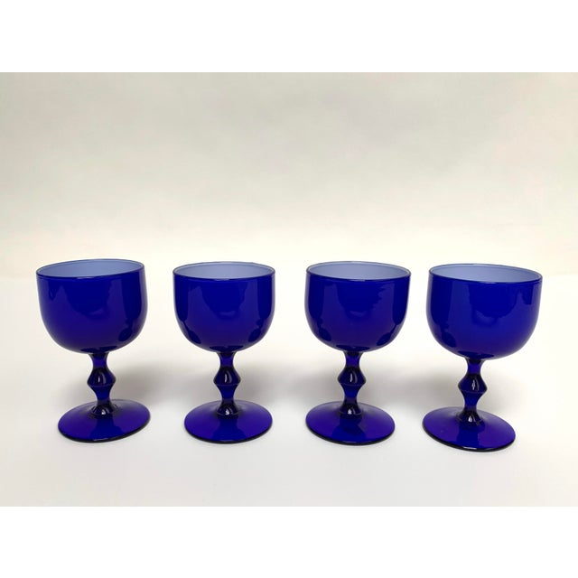 Final Markdown 1960s Carlo Moretti Mid Century Modern Blue and White Cased Glass Wine Goblets - Set of 4 For Sale - Image 13 of 13