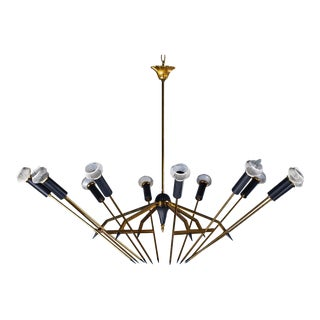 Mid Century Modern Stilnovo Brass Black Fixture Chandelier Circa 1950 For Sale
