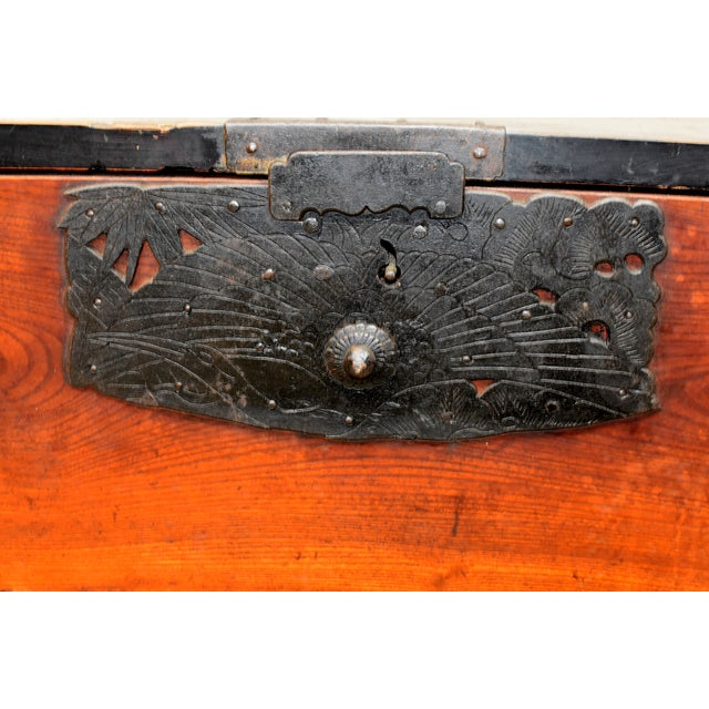 Vintage Japanese Low Tansu Chest with Bamboo Crane Hardware For Sale - Image 4 of 13