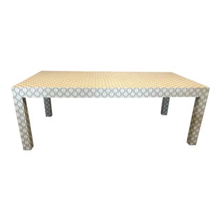 Custom Designed Holland & Sherry Grasscloth Wrapped Parsons Style Dining Table