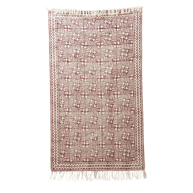 Hand-Blocked Maroon Cotton Printed Rug - 3' x 5' - Image 1 of 3