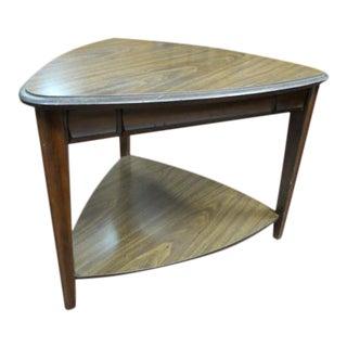 Vintage Mid Century Modern Mersman Triangular Shaped Walnut Side Table For Sale