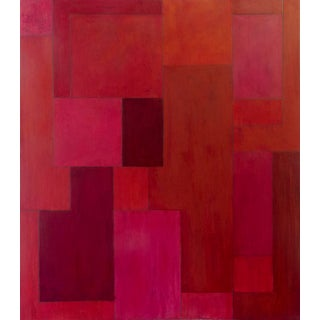Abstract Geometric Red Oil Painting by Stephen Cimini For Sale