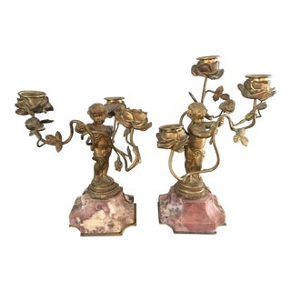 Antique Gilt Bronze Marble Putti Cherub Candle Holders- a Pair For Sale