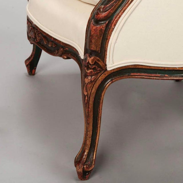 Textile 20th Century Finely Carved French Louis XV Style Bergere Armchair For Sale - Image 7 of 10