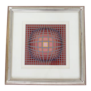 Contemporary Modern Framed Pop Op Art Litho Vasarely Titan C Numbered 206/300 For Sale