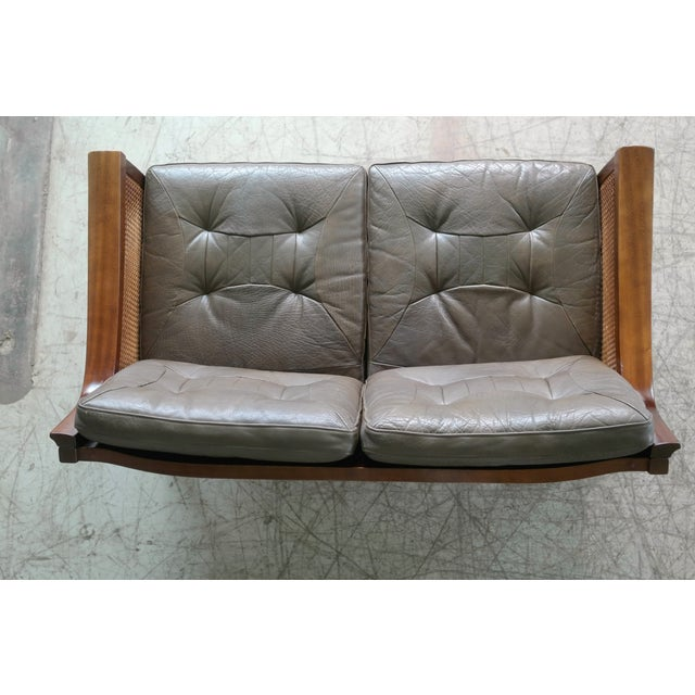 Wood Torbjørn Afdal Settee in Olive Colored Leather and Woven Cane for Bruksbo, 1960s For Sale - Image 7 of 13
