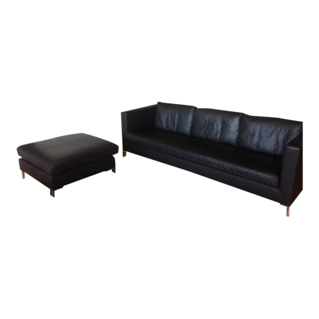 Verdesign Dark Grey Leather Modern Sofa & Ottoman - Image 1 of 11
