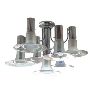 Mid Century Modern Large Opaline Murano & Chrome Chandelier, Mazzega Style Italy 1970s For Sale