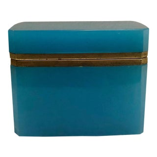 19th Century French Blue Opaline Box For Sale