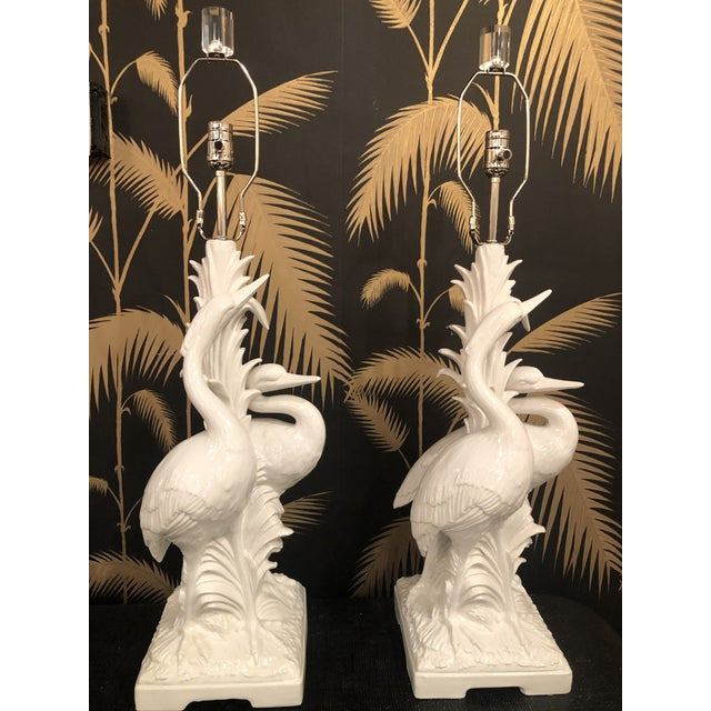 Asian Vintage Hollywood Regency Tropical White Ceramic Heron Bird Table Lamps - a Pair For Sale - Image 3 of 13