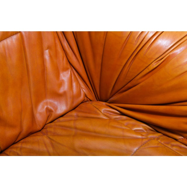 Leather Cognac Leather Postmodern Lounge Chairs by De Pas, D'urbino & Lomazzi For Sale - Image 7 of 11