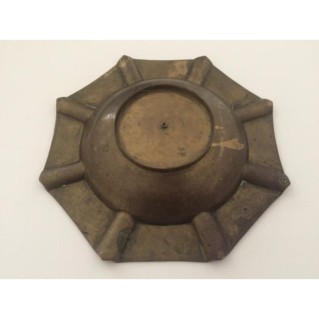 Vintage Mid Century India Brass Octagonal Etched Design Ashtray For Sale - Image 10 of 10