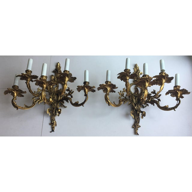 French 19th Century Gilded Bronze Wall Sconces For Sale - Image 9 of 12