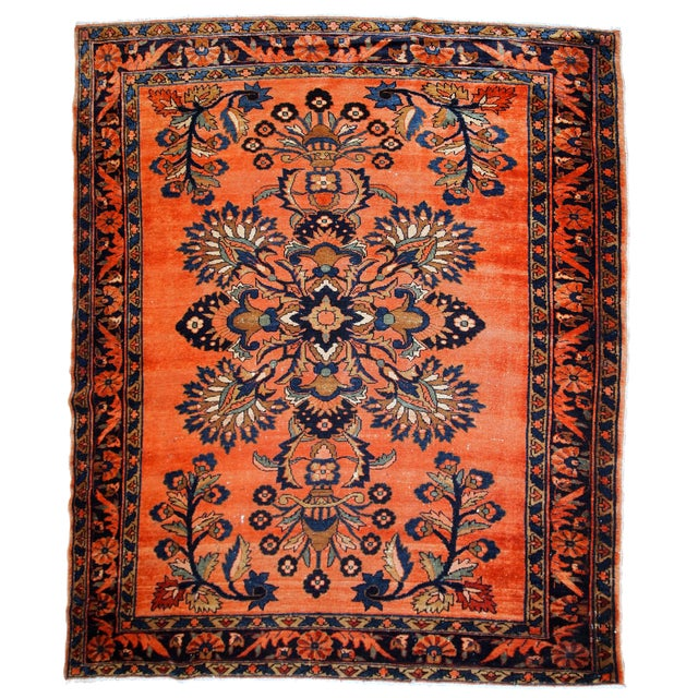 1920s, Handmade Antique Persian Lilihan Rug 5.3' X 7.2' For Sale