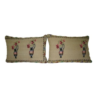 16'' X 24'' Two Antique French Decor Hand Woven Aubusson Tapestry Pillow Covers For Sale