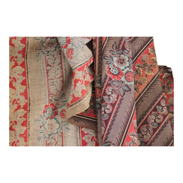 Antique French Fabric Rare Purple Red & Blue Madder Tones 1830 Roller Printed For Sale