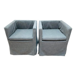 Restoration Hardware Skirted Arm Chairs - a Pair For Sale