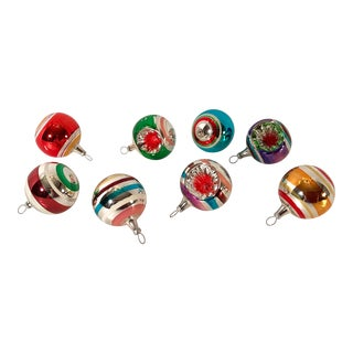 Mid Century Vintage Concave Glass Holiday Christmas Ornaments- Set of 8 For Sale