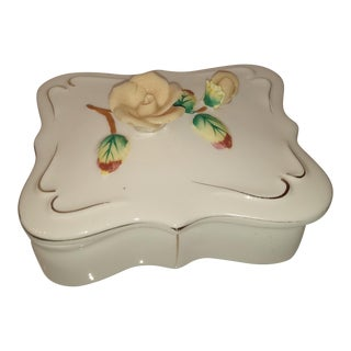 Lefton Trinket Jewelry Box Flowers Vintage Porcelain With Tray Dish For Sale