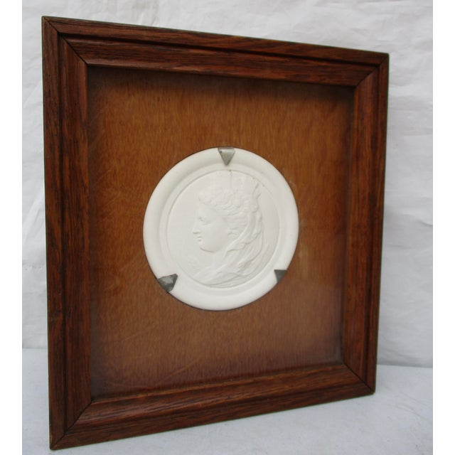 Commemorative Bisque Classical Medallion Encased in Oak Box For Sale - Image 4 of 5