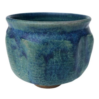 Mid-Century Blue Green Glazed Studio Pottery Bowl / Planter For Sale