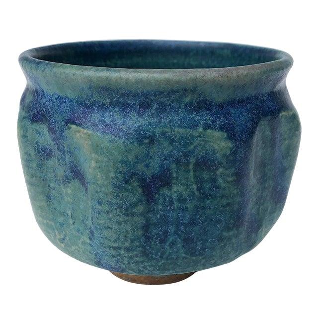 Mid-Century Blue Green Glazed Studio Pottery Bowl / Planter For Sale