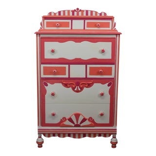 Antique Boho Chic Orange & Pink Highboy Dresser For Sale