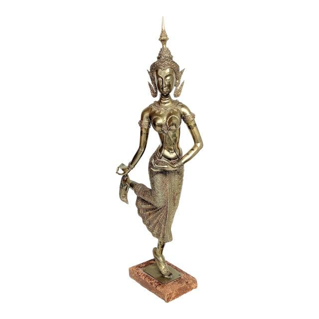 Thai Goddess Brass Sculpture For Sale