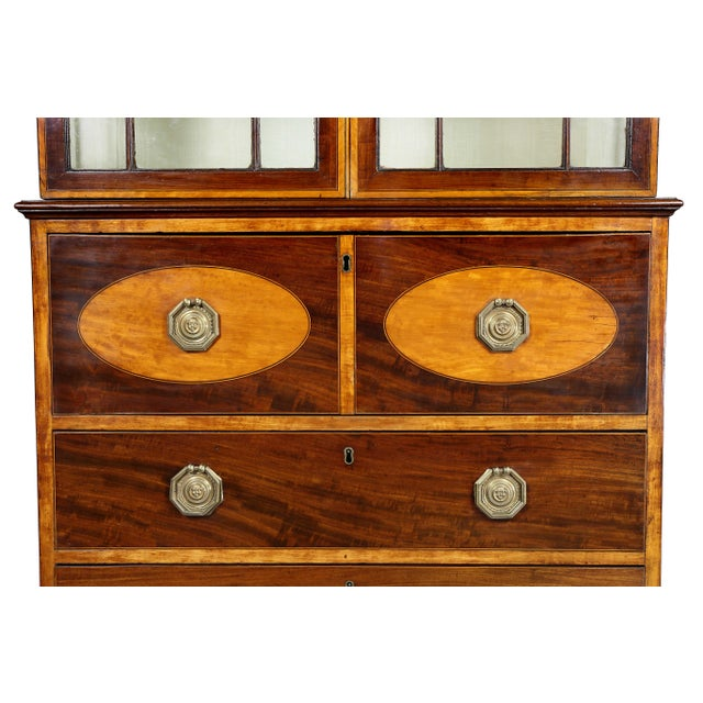 Brown George III Diminutive Mahogany and Satinwood Secretaire For Sale - Image 8 of 13