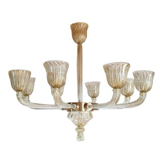 Large Clear & Gold Mid Century Modern Murano Glass Chandelier, Venini Style 1970 For Sale