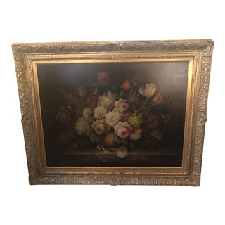 1980s Oil on Canvas Flower Vase Still Life Painting For Sale